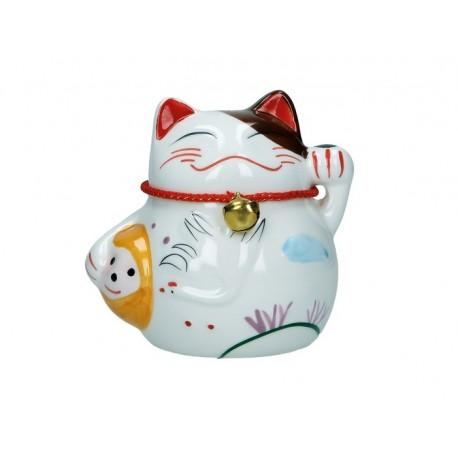 Plutus Katze Spardose Porzellan Winkekatze 9,5cm Maneki Neko Feng Shui Glöckchen