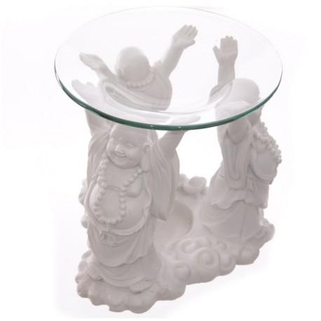 Thai Buddha Duftlampe (H: 12/Ø 12 cm)  aus Polyresin und Glas mit 3 Buddhas
