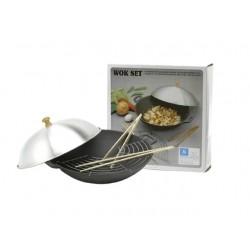Gusseisenwok 35 x 7,5 flacher Boden mit Zubehör massiver Gusseisen wok wokpfanne