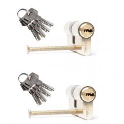 2er Set Zylinderschloss gleichschließend 60mm  inkl. 8 Schlüssel - Türzylinder Schließzylinder 30+30