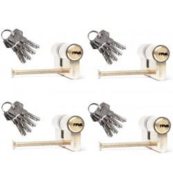 4er Set Zylinderschloss 60mm inkl. 16 Schlüssel - Türzylinder Schließzylinder 30-30
