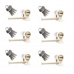 6er Set Zylinderschloss 60mm  inkl. 24 Schlüssel - Türzylinder Schließzylinder Türschloss 30-30