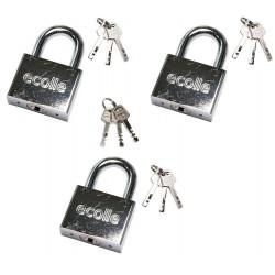 3x Vorhängeschloss + je 3 Schlüssel + 3 Generalschlüssel gleichschließend 50mm