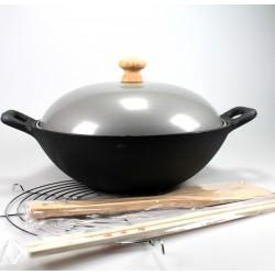 Gusseisenwok 23 x 7,5 flacher Boden mit Zubehör massiver Gusseisen wok wokpfanne