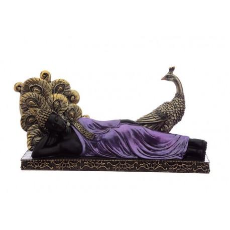 Thai Buddha Figur liegend mit Pfau Budda Statue fengshui 31cm x 17cm lila