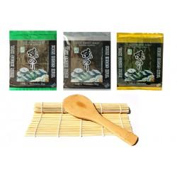 Sushi Roll Matte aus Bambus + Reislöffel + 3x 10 Sushi Nori Algenblätter