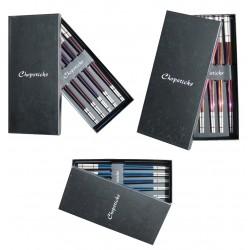 5 Paar Essstäbchen Edelstahl in Box vers. Farben Japan Chopsticks Sushi
