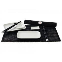 Sushi Service Set 12 tlg. schwarz/weiß Japan Style 2 Personen Keramikgeschirr mit Bambusmatte, Esstäbchen, Halter