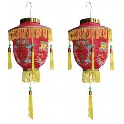 2 Laternen japanische chinesische asiatische Lampions Dekoration mit Quasten Lampenschirm