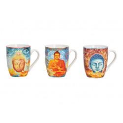 3 Kaffeetassen Buddha 3er Set Kaffeebecher Tasse Becher Haferl Budda Motiv 300ml