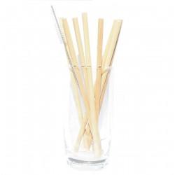 8 Strohhalme + Reinigungsbürste Bambus wiederverwendbar Bambushalme Trinkhalme Holztrinkhalm