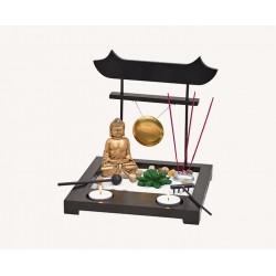 Zen Garten mit Buddha + Gong + Teelichthalter + Räucherstäbchenhalter Japanischer Zengarten