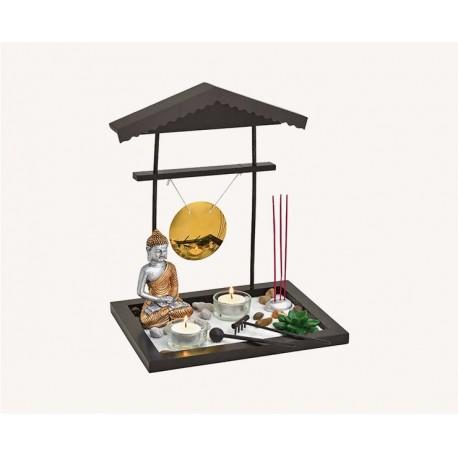 Zen Garten mit Buddha + Gong + Teelichthalter + Räucherstäbchenhalter Japanischer Zengarten 32cm 22cm