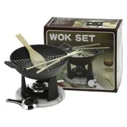 Gusseisenwok 23 x 7,5 + Brenner + Zubehör massiver Gusseisen wok set wokpfanne