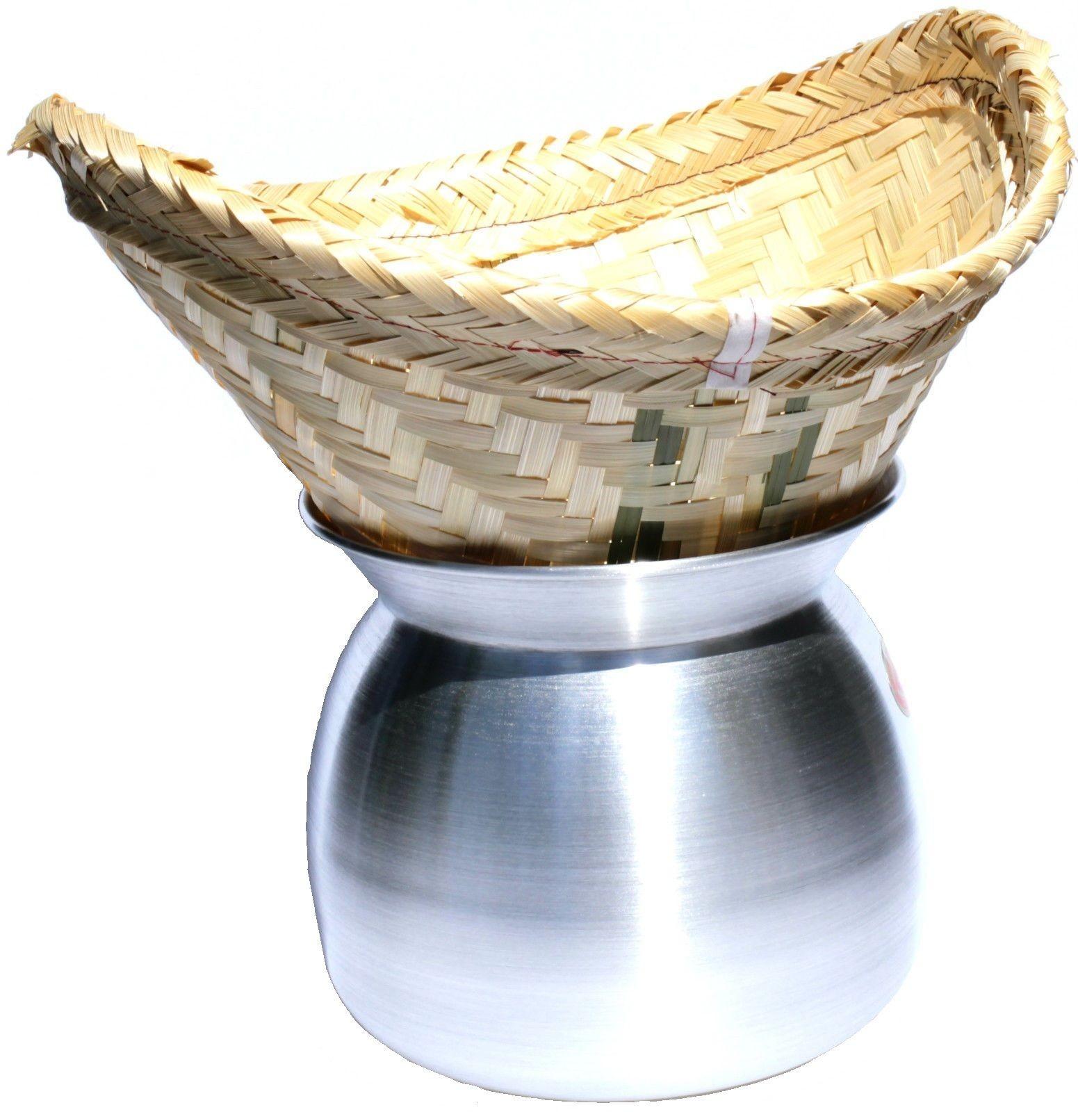 Laos Topf Ø22cm, 19,4cm hoch zum Dampfgaren von Reis-  traditioneller Reisdämpfer mit Bambuskorb