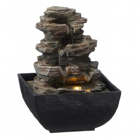 Zimmerbrunnen Zen Garten Buddha mit LED + Teelicht Tischbrunnen Wasserspiel 34cm Luftbefeuchter