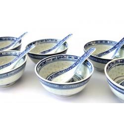 Reisschüssel mit Löffel Porzellan Schale chinaporzellan reiskorn reisschale Sets