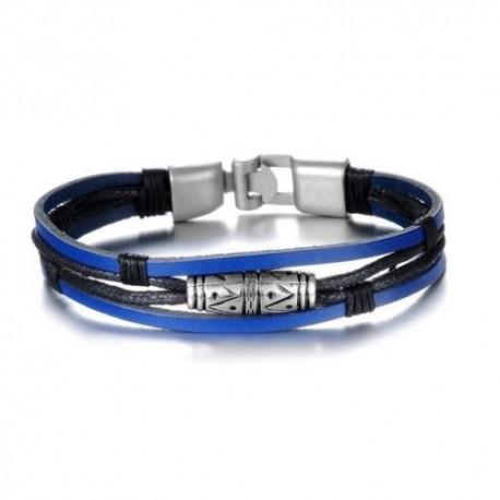 Herren & Damen LederArmband armreif Designer surferarmband surferkette blau neu