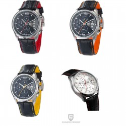 Herrenuhr Pagani Design Armbanduhr Chronograph Edelstahl Lederarmband Pilotenuhr Quarz
