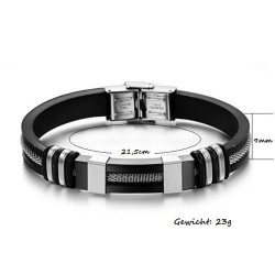 Herren Armband Edelstahl & Silikon MoZo Designer Auswahl armreif Top & Neu