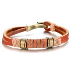 Herren & Damen Designer LederArmband (L:21cm/B:0,8-1,0cm)  surferarmband surferkette orange