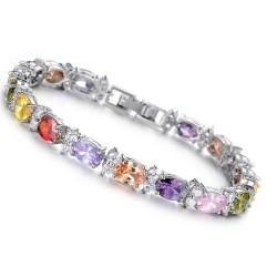 Exklusives Damen Armband 17,5cm m. bunten Zirkonia-Steinen Strassarmband armkette