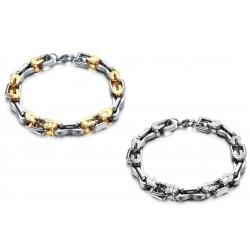 Massive Armkette Edelstahl oder Edelstahl mit Goldverzierung  (L:23,5cm / B:11mm)Designer herrenarmkette edel & individuell 722