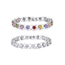 Exklusives Damen Armband (L:17,5cm/B:6mm) mit bunten Steinen oder Kristall Strassarmband armkette