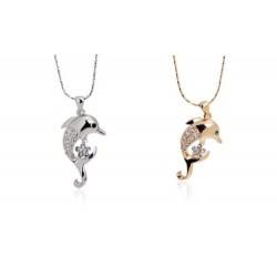 süßer Delfin Anhänger (3,2x1,5cm) mit Kette (41cm+5cm) und Strass Steinen gold oder silber