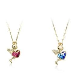 Engel-Anhänger (ca. 2,7cmx1,7cm) + Kette (ca. 42cm lang)  Glücksengel mit Herz - tolles Geschenk