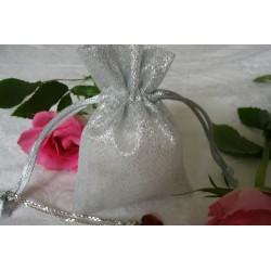 silberner Organza Schmuckbeutel (6,8cm x 9cm), Schmuckverpackung, Geschenkverpackung, Schmucksäckchen