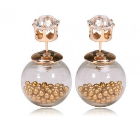 Ohrstecker Perlen in Kugel (Ø 1,7cm/Acryl) Stecker mit Stein (Ø 0,8 cm/Zirkonia)