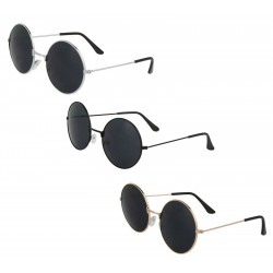 Trendy Sonnenbrille im Retro-Style in 3 Farben - runde Kunststoffgläser, Rahmen aus Metall
