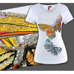 T-Shirt Schmetterlinge mit Strass + Pailletten Designer Mode tops Fashion SMLXL